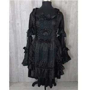 Black lace and satin Lolita dress with bows 3x